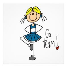 Blue Stick Figure Cheerleader T-shirts and Gifts Announcements
