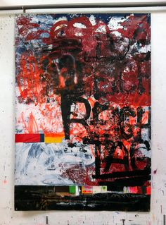 Hermann Josef Hack, REICH TAG, 140707, painting and spray paint on tarpaulin, 284 x 195 cm, 2014