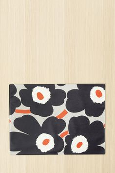 Marimekko Pieni Unikko Oilcloth Placemat Dark Grey/Orange