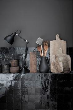 basil green pencil: Interior Design Trend: Black Wall Kitchen