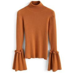 Chicwish Keep Knit Up Turtleneck Top in Orange (5055 ALL) ❤ liked on Polyvore featuring tops, orange turtlenecks, turtleneck tops, knit turtleneck, chicwish tops and flared sleeve top