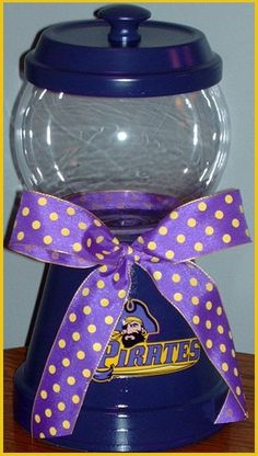 Take a pot, paint, add ribbon. Need this for my office. Ecu Pirates, Bubble Gum Machine, Candy Stand, East Carolina University, Graduation Party Planning, Vbs 2016, Clay Pot Crafts, Diy Gifts, Handmade Gifts