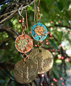 """""""Under A Spell"""" Copper Splash & Brass mismatched owl earrings. Owl components by Andrew Thornton, patinas by Color Me This."""