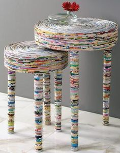 Made from the coiled glossy pages of magazines. Fantastically innovative and wonderfully green!