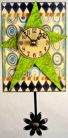 Lime Green Art Deco Clock