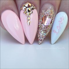 ▷ 1001 + ideas for the perfect manicure with gel nails glitter gel nail design ideas pastel colors on the nails nails pink blue glitter nails with stones heart decoration Blue Glitter Nails, Pink Nails, Gold Glitter, Pink Sparkles, Sparkle Nails, Pink Stiletto Nails, Glitter Letters, Glitter Art, Nagel Tattoo
