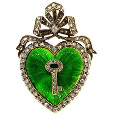 Antique Victorian Silver Gold Diamond Guilloche Green Enamel Heart Pendant For Sale at Heart Jewelry, Fine Jewelry, Jewelry Necklaces, Jewellery, Antique Locket, Rose Cut Diamond, Fashion Rings, Heart Shapes, Jewels