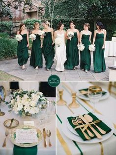 emerald green and gold fall wedding color ideas and bridesmaid dresses trends autumn wedding colors / wedding in fall / fall wedding color ideas / fall wedding party / april wedding ideas Fall Wedding Colors, Purple Wedding, Trendy Wedding, Emerald Wedding Theme, Autumn Wedding, April Wedding, Green Wedding Themes, Wedding Theme Ideas Unique, Green Spring Wedding