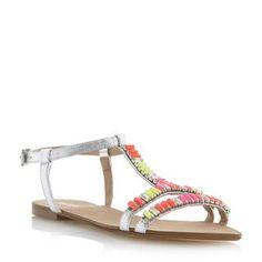 DUNE LADIES NIMBO - Baguette Stone Embellished Flat Sandal - multi   Dune Shoes Online