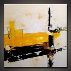 Large Abstract Yellow art ORIGINAL von ModernArtHomeDecor auf Etsy