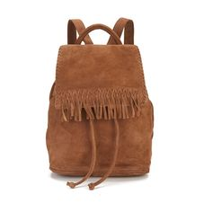 Liebeskind Women's Grit Suede Fringe Backpack - Cognac (€100) ❤ liked on Polyvore featuring bags, backpacks, brown leather rucksack, real leather backpack, leather fringe backpack, draw string backpack and leather backpacks