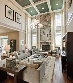 ideas living room rug placement layout furniture arrangement for 2019 High Ceiling Living Room, Rugs In Living Room, Home And Living, Living Room Designs, Living Room Furniture, Home Furniture, Living Room Decor, Furniture Dolly, Sectional Furniture