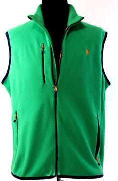 Polo Ralph Lauren Mens Polyester Performance Fleece Vest Jacket XL Green Orange #PoloRalphLauren #Vest