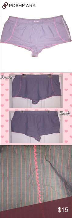 Victoria's Secret Pink Stitched Pajama Shorts These EUC Pajama Shorts are absolutely perfect to lounge around in all day! They are so comfortable! The color is an imitated denim blue with pink stitching throughout. Pink trim lace on hems. These shorts still have tons of life in them! Made of 97% Cotton and 3% Other Fibers which make these shorts very breathable! Bundle and save! Victoria's Secret Intimates & Sleepwear Pajamas