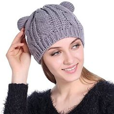 729a8ed0 Cat beanie hat with ears for women cable knit hats winter wear