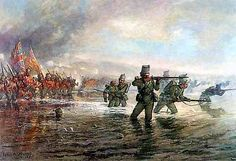 The Light Division crossing the Alma River to storm the Alma Heights: the Rifle Brigade skirmishing to the fore