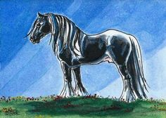 Gypsy Vanner Horse ACEO Watercolor & Ink Original Art by Carpiss, $9.99