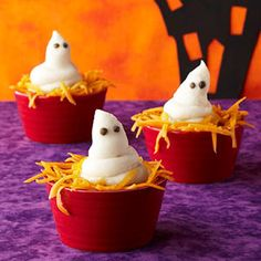 Spooky Stew...these are cute and easy!  Spoon servings of stew or soup into individual serving dishes, filling about two-thirds full. Using a pastry bag with a large round tip, pipe hot mashed potatoes into a ghost shape on top of each serving. Use capers for ghost eyes, and sprinkle shredded cheddar cheese around the base of each ghost.