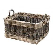 Two Tone Rattan Brown & Buff Rectangular Wicker Log Storage Basket with Handles