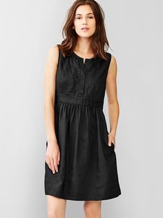 Ramie embroidered shirtdress