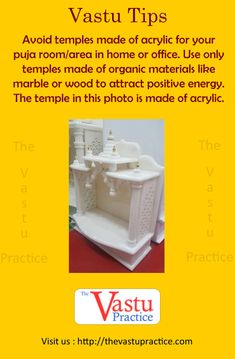 Avoid temples made of acrylic for your puja room, area in home or office. Use only temples made of organic materials like marble or wood to attract positive energy. The temple in this photo is made of acrylic.- want this in wood and marble combination Temple Room, Home Temple, Pooja Room Design, Room Interior Design, Interior Decorating, Feng Shui Energy, Indian House Plans, Puja Room, Vastu Shastra