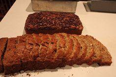 """Freezer banana bread from the """"Four weeks to fill your freezer"""" challenge. I haven't frozen it yet but I LOVE this banana bread. Very moist and good flavor. I topped one loaf with mini-chocolate chips and it's sooo good."""
