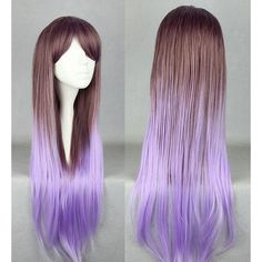 Long Brown and Purple Ombre Wig, Cosplay Wig, Anime Wig, Straight... ❤ liked on Polyvore featuring beauty products, haircare, hair styling tools, hair and cosplay