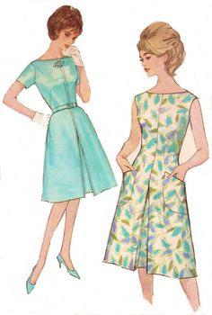 1960s Simplicity Sewing Pattern 4898 Womens One Piece Dress Summer Dress Bateau Neckline Size 16 Bust 36