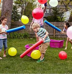 Fun game! Use pool noodles to knock balloons into the basket!