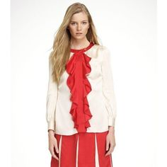 TORY BURCH LEA MILK OPAL VOLCANO RED 100% SILK BLOUSE SIZE 8 NWT via Polyvore featuring tops, blouses, white top, white blouse, silk blouses, red silk top and tory burch tops