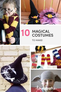 Add a bit of handmade magic to your halloween costume this year and whip up a knitted witches hat or a pair of elf ears! | Downloadable PDFs at LoveCrafts.com Halloween Costumes To Make, Halloween Crafts, Wizard Costume, Elf Ears, Little Monsters, Witches, Crochet Hats, Magic, Knitting