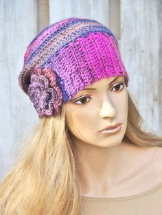 Crochet Hat Colorful Crochet Beanie Blue hat Pink hat by Degra2