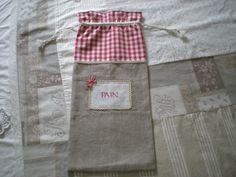 sac à pain vichy rouge et lin : Cuisine et service de table par nany-made