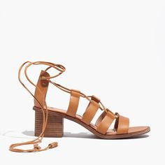 Rich leather sandals with an intricate lace-up detail inspired by old-school dance shoes. Extra walkable, thanks to chunky block heels and comfy padded insoles.