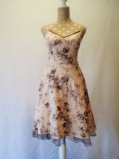 Womens CITY TRIANGLES Pink Brown Floral Dress Knee Length Size 7 Spagetti Straps #CityTriangles #TeaDress #SummerBeach