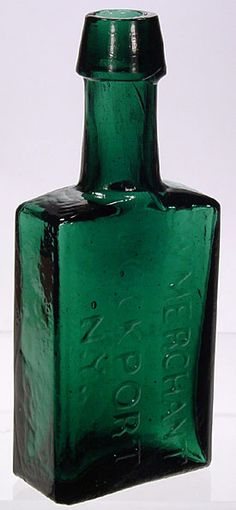 bottles.quenalbertini: Antique Deep Emerald Green Bottle - G W Merchant Lockport NY