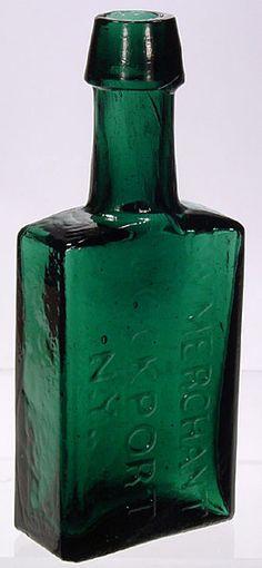 bottles.quenalbertini: Antique Deep Emerald Green Bottle - G W Merchant Lockport NY