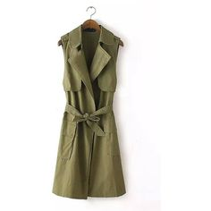 Yoins Yoins Army Green Longline Gilet featuring polyvore, women's fashion, clothing, outerwear, vests, green, army green vest, brown vest, vest waistcoat, olive vest and sleeveless waistcoat