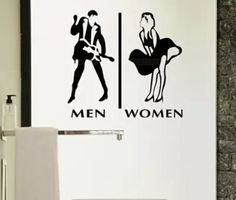 Store company toilet man and woman WC sign sticker icon wall sticker Unisex Bathroom Sign, Bathroom Signs, Restroom Signs, Funky Bathroom, Toilet Signage, Toilet Door Sign, Vintage Advertising Posters, Vintage Advertisements, Toilet Symbol