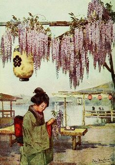 Gorgeous watercolor painting of Victorian Japan by Ella Du Cane.
