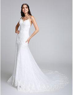 Tubinho Com Alças Finas Cauda Capela Renda Vestido de casamento com Apliques Renda de LAN TING BRIDE®