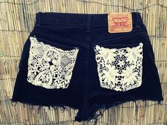 blue jean shorts with lace pockets