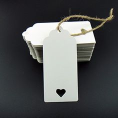 100pcs White Kraft Paper Tag Blank for Wedding Favour Cards,Gift Tag,DIY Tag,Luggage Tag,Price Label,Store Hang Tag (100) with heart