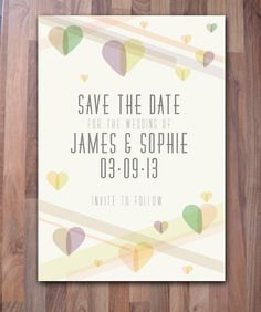 Pastel Save The Date Cards  Muted Colours £60.00