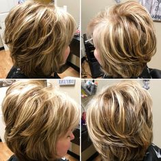 Thick-Bob-Hair Beautiful Short Layered Haircuts for Women Over 50 Layered Haircuts For Women, Haircuts For Fine Hair, Haircut For Thick Hair, Cut My Hair, Short Hair With Layers, Short Hair Cuts, My Hairstyle, Layered Hairstyle, Hairstyles