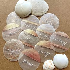 The perfect unique place cards for a seaside themed wedding. Capiz shells and light and whimsical and the perfect accessory for the modern bride Place Card Calligraphy, Modern Calligraphy, Seaside Wedding, Summer Wedding, Wedding Name Cards, Seaside Style, Fun Challenges, Wedding Details, Wedding Ideas