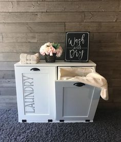 Tilt out laundry hamper double bin (D-LAU-W-STEN) - Lovemade14 Tilt Out Laundry Hamper, Double Laundry Hamper, Wash N Dry, Laundry Room, Projects To Try, Home Decor, Decoration Home, Room Decor, Wash Room