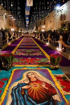 "Huamantla - Takes place on the 14th of August, the night when no one sleeps.  ""La noche que nadie duerme""  People spend the night decorating the streets with tapestries made of flowers. MEXICO"