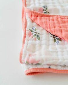 Little Unicorn Cotton Muslin Quilt - Watercolor Rose Antique Quilts, Vintage Quilts, Vintage Fabrics, Watercolor Quilt, Watercolor Rose, Unicorn Knitting Pattern, Cotton Quilts, Cotton Muslin, Suitcase Storage