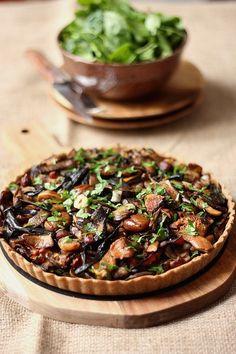 Tarte aux champignons, carottes, fromage frais et marrons (pâte à l'épeautre)